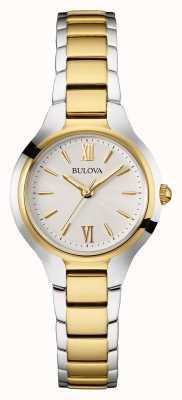 Bulova Womens Two Tone Strap White Dial 98W221
