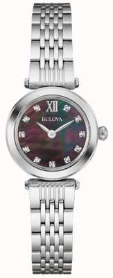 Bulova Womens Metal Strap Black Mother Of Pearl Dial 96S169