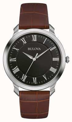 Bulova Mens Black Dial Brown Leather Strap 96A184
