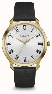 Bulova Men's Black Leather Strap White Dial 97A123