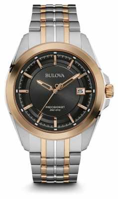 Bulova Mens Two Tone Strap Grey Dial 98B268
