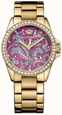 Juicy Couture Womens Gold Metal Strap PInk Pattern Dial 1901424