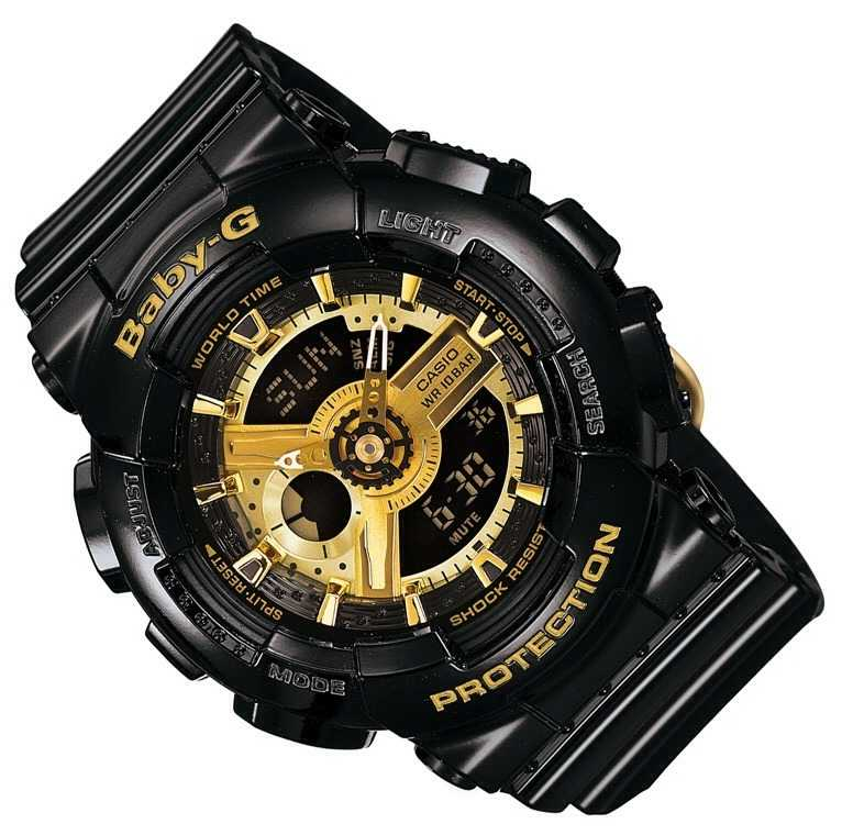 casio baby g black and gold alarm ba 110 1aer