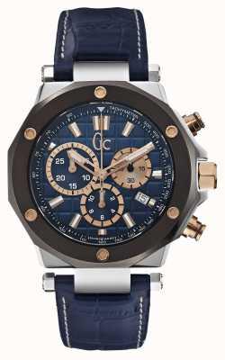 Gc Men's Gc-3 Chronograph Blue Leather Strap X72025G7S
