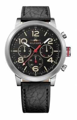 Tommy Hilfiger Mens Jake Black Leather Strap Black Dial 1791232