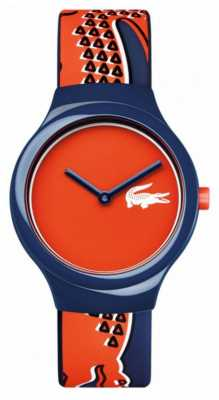 Lacoste Mens Red Dial Blue Pattern Silicone Strap 2020113