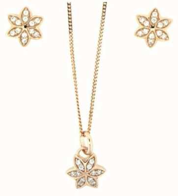 Fiorelli Rose Gold Plated Cubic Zirconia Flower Necklace and Earrings Z920