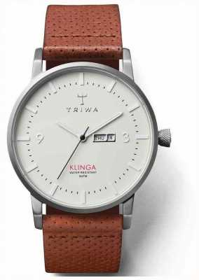 Triwa Unisex Klinga Brown Leather Strap White Dial KLST101-CD010212
