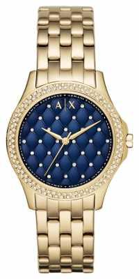 Armani Exchange Ladies Blue Gold Plated Bracelet AX5247
