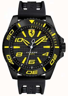 Scuderia Ferrari Mens Black Strap Black Dial Yellow Detail 0830307