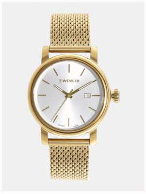 Wenger Womens Urban Vintage Silver Dial Gold Strap 01.1021.118