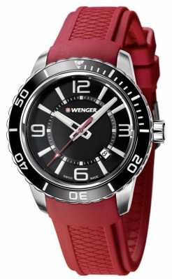 Wenger Mens Roadster Black Dial Red Silicone Strap 01.0851.116