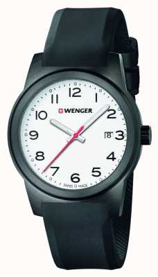 Wenger Mens Field White Dial Black Silicone Strap 01.0441.150