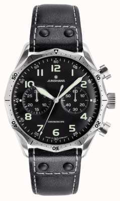 Junghans Mens Meister Pilot Black Leather Strap 027/3590.00