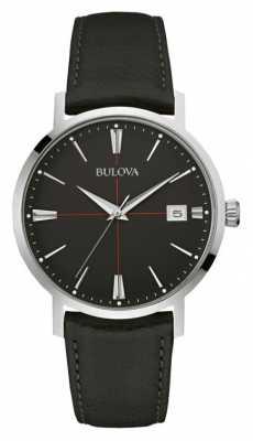 Bulova Mens Black Dial Black Leather Strap 96B243