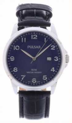 Pulsar Mens Black Leather Strap Blue Dial PS9443X1