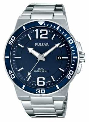 Pulsar Mens Stainless Steel Strap Blue Dial PS9399X1