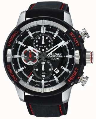 Pulsar Mens Black Silicon Strap Black Patterned Dial PM3051X1