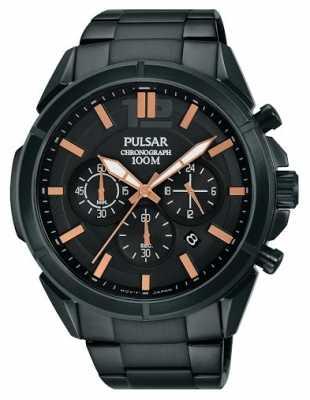 Pulsar Mens Black Dial Black Stainless Steel Strap PT3765X1