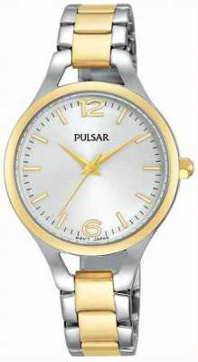 Pulsar Womens Two Tone Strap Round White Dial PH8186X1