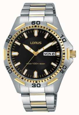 Lorus Mens Two Tone Strap Black Dial RXN20DX9