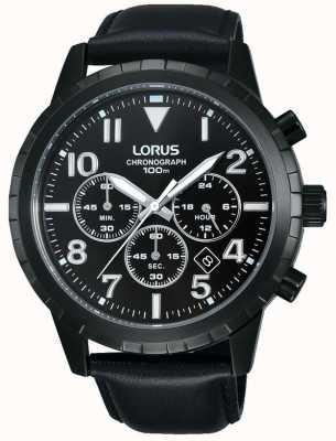 Lorus Men's Black Chronograph Black Leather Strap RT365FX9