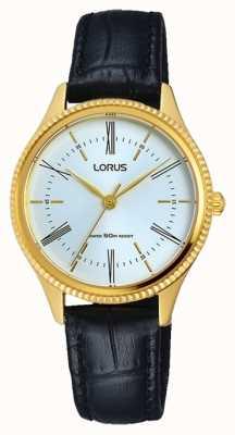 Lorus Mens Classic Black Leather Strap White Dial RRS68VX9