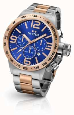 TW Steel Mens Canteen Two Tone Blue Chronograph Dial CB143