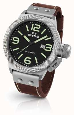 TW Steel Mens Canteen Brown Leather Strap Black Dial CS26