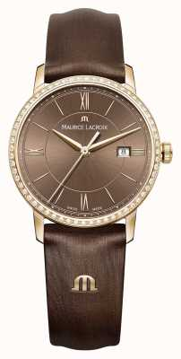 Maurice Lacroix Womens Eliros Brown Calf Silk Stainless Steel EL1094-PVPD1-710-1