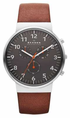 Skagen Mens Ancher Brown Leather Strap Black Dial SKW6099