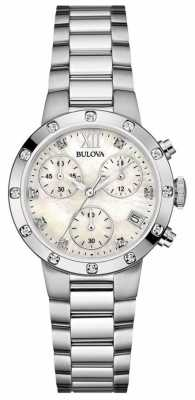 Bulova Womens Diomond Stainless Steel Chronograph 96W202