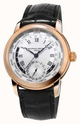 Frederique Constant Manufacture Worldtimer Alligator Strap Rose Gold Plated FC-718MC4H4