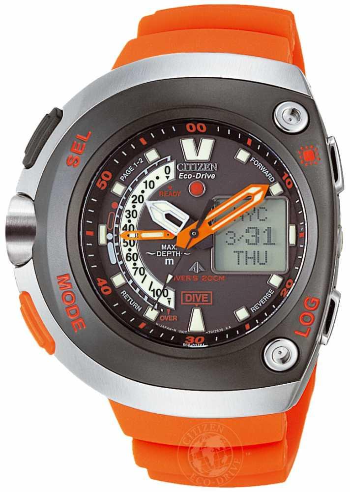Citizen eco drive aqualand watch jv0020 21f - Orange dive watch ...