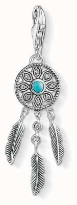 Thomas Sabo Dream Catcher Charm Turquoise 925 Sterling Silver Blackened/ Simulated Turquoise/ Zirconia 1326-646-17