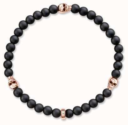 Thomas Sabo Bracelet 17cm Black 925 Sterling Silver Gold Plated Rose Gold/ Obsidian A1508-444-11-L17