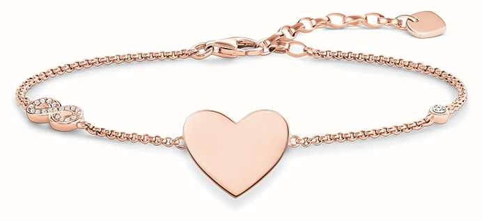 Thomas Sabo Bracelet 16.5-19.5cm White 925 Sterling Silver Gold Plated Rose Gold/ Zirconia A1486-416-14-L19,5v