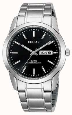 Pulsar | Mens | Black Day Date Dial | Stainless Steel Bracelet | PJ6021X1