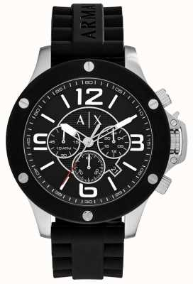 Armani Exchange Mens Urban Silicone Strap Chronograph Black Dial AX1522
