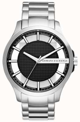Armani Exchange Mens Black Face Stainless Steel AX2179