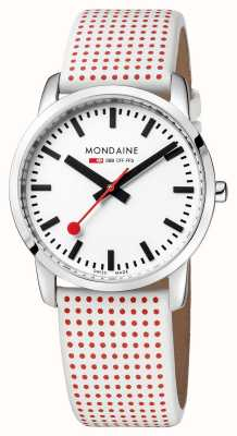 Mondaine Official Swiss Railways Watch Simply Elegant Red White Strap A400.30351.11SBA