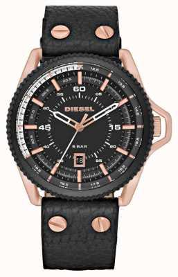 Diesel Mens Black Leather Strap Round Black Dial DZ1754