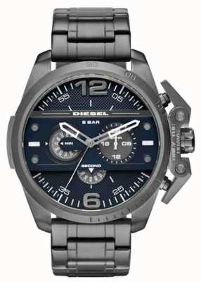 Diesel Mens Black Plated Steel Strap Dark Blue Dial DZ4398