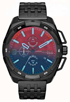 Diesel Black Plated Steel Bracelet Red Blue Dial DZ4395