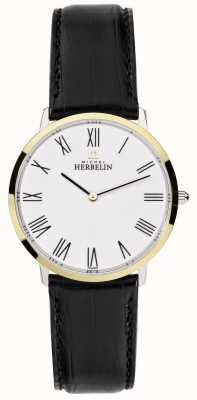 Michel Herbelin Mens Ikone Black Leather Strap White Dial 17415/T01