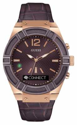 Guess CONNECT Unisex Brown Leather Strap Smart Watch C0001G2