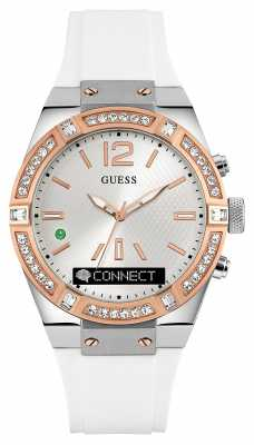 Guess Unisex Connect White Rubber Strap Smart Watch C0002M2