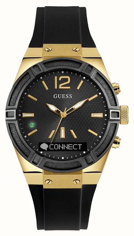 Guess CONNECT Unisex Black Rubber Strap Smart Watch ...