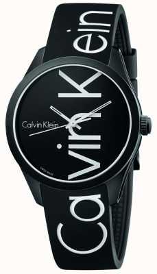 Calvin Klein Unisex Color Black Silicone White Logo K5E51TBZ