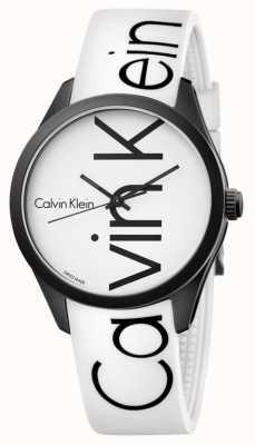 Calvin Klein Unisex Color White Silicone Black Logo K5E51TK2